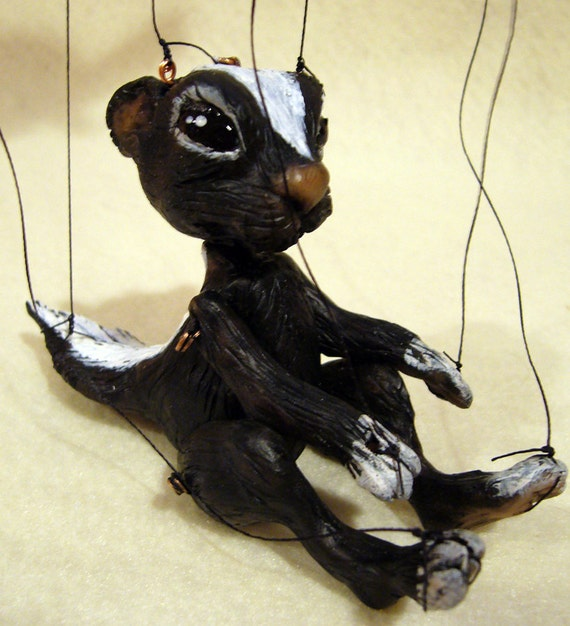 Skunk Marionette, hand-made, OOAK