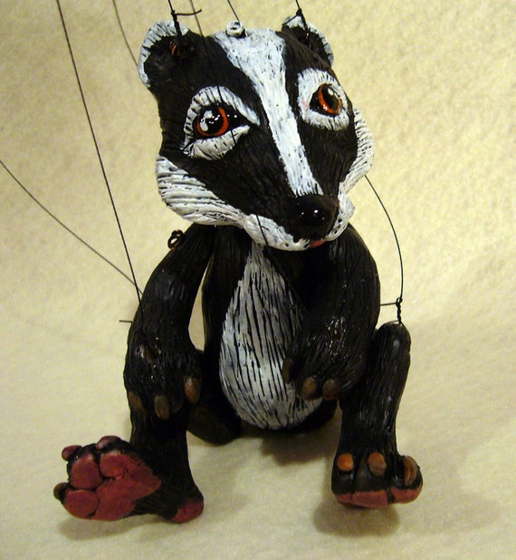 Badger Marionette, hand-made, OOAK