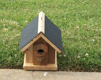Pine Birdhouse Shingle Roof BUILT TO ORDER