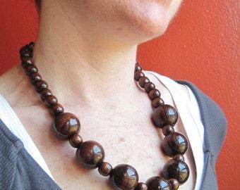 Wood Bead Necklace, Wooden Bead Necklace Wooden Necklace, Wooden Jewelry Chunky Wood Necklace, Large Wooden Beads, Big Necklace Wood Jewelry