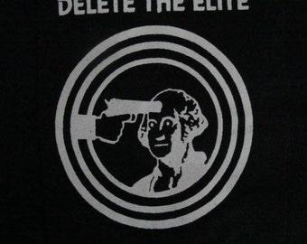 Delete the Elite Anarchist Punk DIY Patch Screen Printed Emma Goldman