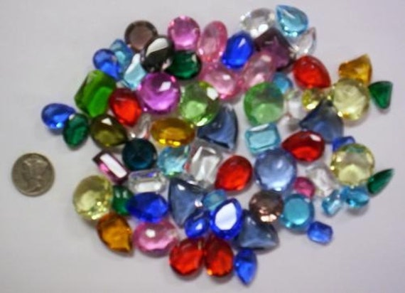 1/4 lb Sm Vintage Dbl Faceted Glass Jewel Asst for Stained Glass and Jewelry Making