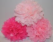Baby Shower Decorations - Set of 15 Hanging Tissue Paper Pom Poms or Tissue Paper Flower Centerpieces - Your Colors