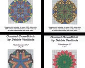 Counted Cross Stitch Kit Kaleidescope Kaleidoscope Violets Daisies Roses Aida Cloth Embroidery Floss Instructions Graph Chart Pattern