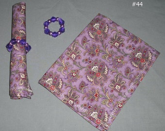 Pair of Cloth Napkins with Napkin Rings Purple Lavendar Your Choice Eco Friendly Reusable Fabric Home Kitchen Picnic Party Gift