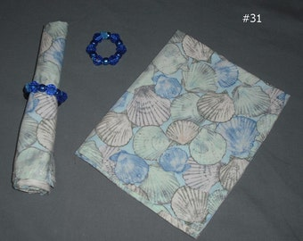 Pair of Cloth Napkins with Napkin Rings Shades of Blue Eco Friendly Reusable Fabric Dining Home Kitchen Dinner Lunch Party Picnic