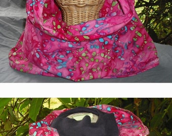 Fabric Cowl Hooded Scarf Cotton Blend Fully Lined Hood Infinity Scarf Fashion Chic Floral Batik Prints Head Cover Women Gift