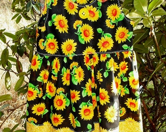 Childs Sleeveless Jumper Dress Contrasting Band Shoulder Ties Sunflowers Butterflies Flowers Bubbles Marbles Kids Clothing Ready To Ship