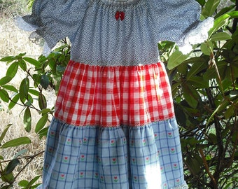 Childs Twirly Tiered Peasant Dress Gathered Sleeves Layered Skirt Kids Clothing Print Fabric School Party Wedding Ready To Ship