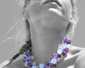 Over Size Chunky Necklace, Over Loaded Amethyst and Moonstone Statement Necklace, Glamorous Bijoux, Purple Hues Necklace, Hollywood Glamour