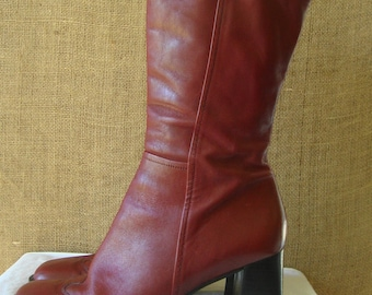 VINTAGE RED LEATHER Boots Red Leather Boots Made in Brazil Size 9