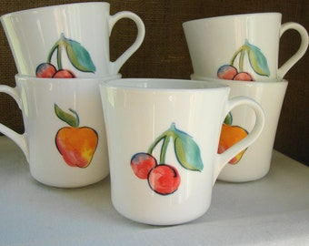 VINTAGE Corning Mugs Set of 5 White With Apples & Cherries Cottage Kitchen Set 5 White Glass Fruit Basket Mugs Cherries Apples Coffee Tea