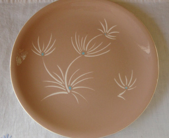 MID CENTURY Harkerware Plate Cameo Flowers With Turquoise Center Mid Century USA