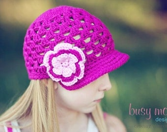Crochet PATTERN - Breezy Brimmer - Newsboy, Open-Weave Beanie - ALL sizes included - Easy - PDF 115 - Sell what you Make