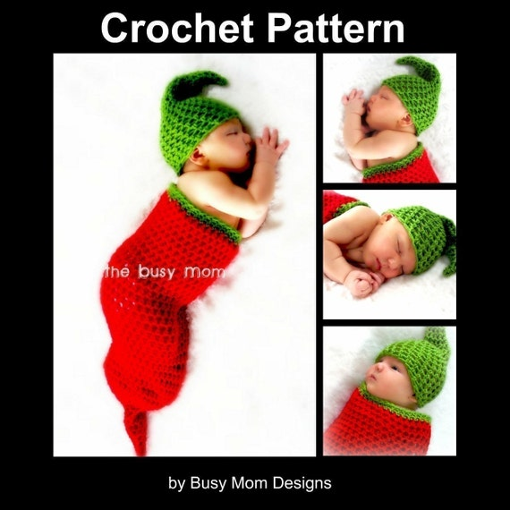 CROCHET PATTERN - Chili Pepper Cocoon and Matching Hat Set - Great as a Photo Prop or Baby Costume - Easy - PDF 403 - Sell what you Make