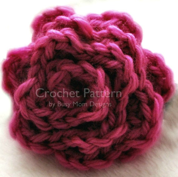 Crochet Rose Hair Clip Pattern : CROCHET PATTERN - Elegant Rose - Flower AppliquE - Easy - Great for ...