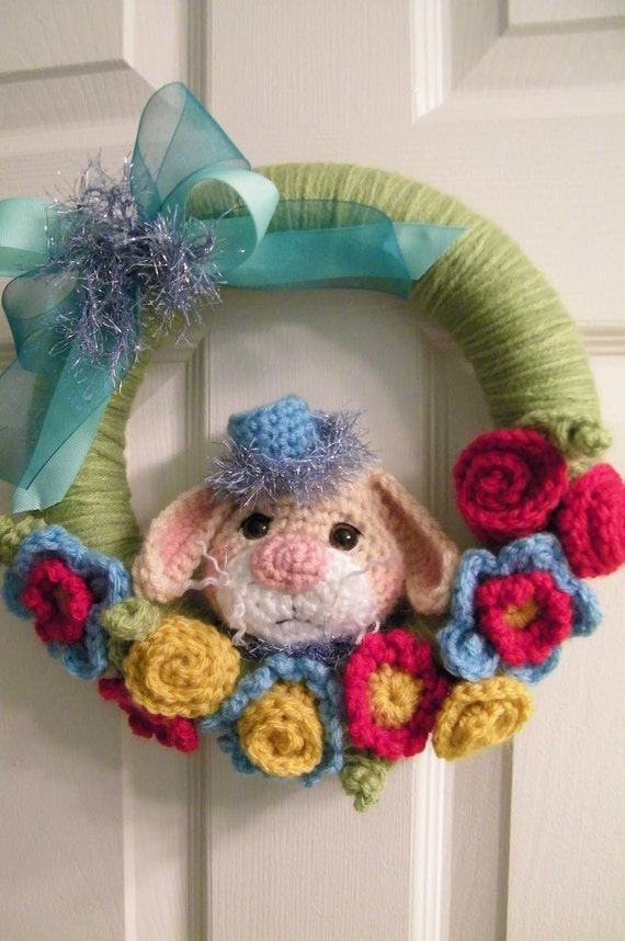 Crochet Pattern Yarn Wrapped Bunny Wreath by Teri Crews instant download PDF format