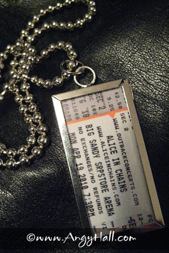 Rock and Roll Necklace Alice in Chains Concert Ticket Stub Glass Pendant