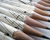 Sheet Music Pencils Upcycled Recycled Pencil Set of 5