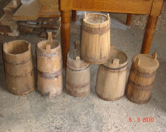 Antique Primitive Staved Wooden Buckets with Metal Bands