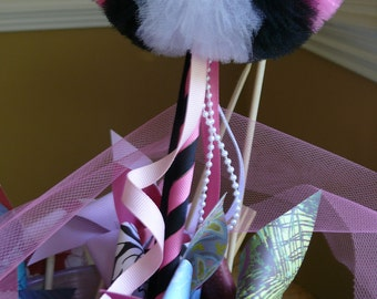 Girly Pink Zebra Toy Tulle Puff  Magic Wand-Flower Girl Accessory