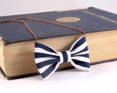 Nautical Stripes - Bow Tie Necklace  White and Blue Navy Bow tie for Women and Girls, Pre Tied Custom Chain Necklace Bowtie, Dress Up