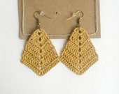 Rhombus Crocheted Earrings , Bohemian Handmade,  triangle diamond shaped boho earrings, Cotton Anniversary 2nd Gift for Wife