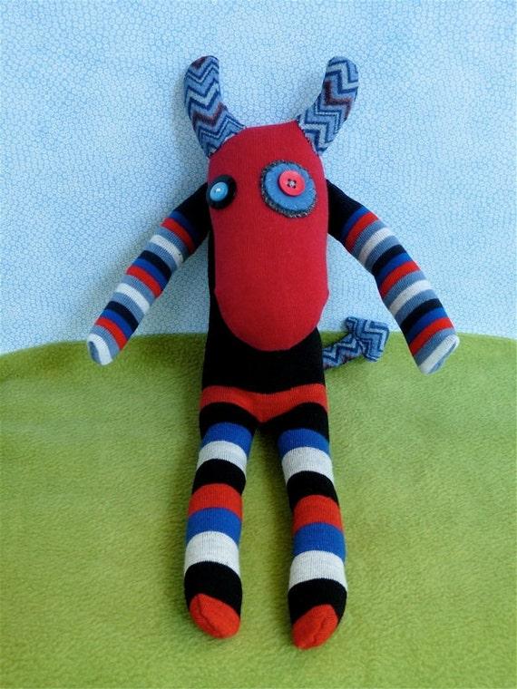OOAK lucifer handmade recycled devil stuffed animal