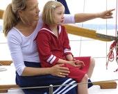 SKIRT DAYLIE Women,  Wide Maritime Navy Blue Women's Summer Skirt With White Stripes,Above Knee-Length,Big Gathered Pockets, White Ribbon