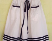 SKIRT DAYLIE MAMAN, Wide White Maritime Women's Summer Skirt With Navy Blue Stripes, Above Knee-Length,Big Gathered Pockets, Blue Ribbon
