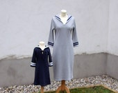 DRESS DAYLIE JERSEY pour Maman, Light-Grey Women's Cotton Jersey Sailor Dress With Blue Stripes,Slim Fit,Three-Quarter Sleeves, Retro Style