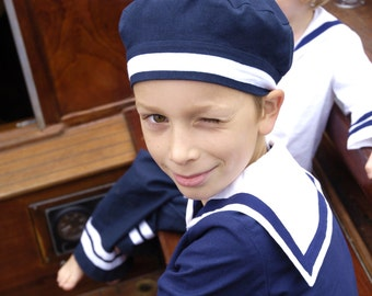 CAP AHOI, Children's and Babies' Sailor Cap in Various Colours,White White Ribbon,Maritime Hat, Navy Blue, Red, White, Retro Style, Baptism