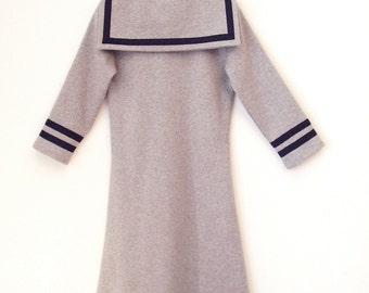 DRESS DAYLIE JERSEY, Light-Grey Children's Jersey Sailor Dress With Blue Stripes, Slim Fit,Three-Quarter Sleeves,Cosy Soft Cotton,Maritime