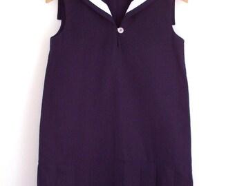 DRESS CENTRECOURT, Navy Blue Children's and Babies' Sailor Dress In Nineteen-Twenties Tennis Style, Sleeveless,Low Waist,Pleated Skirt,Linen