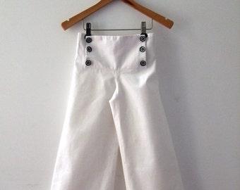 PANTS AHOI, White Children's and Babies' Sailor Pants, Wide Legs, Sailor Flap with Button Closure, Cotton Linen Blend, Maritime Baptism