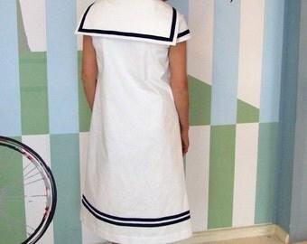 DRESS DAYLIE MAMAN, White Women's Sailor Dress with Navy Blue Stripes, A-Shape,Short Sleeves,Above Knee Length,Maritime Summer Dress,Wedding