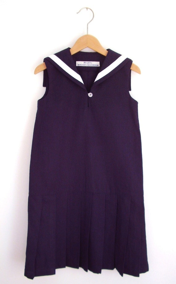 DRESS CENTRECOURT, Navy Blue Children's and Babies' Sailor Dress In Nineteen-Twenties Tennis Style, Sleeveless,Low Waist,Pleated Skirt,Linen