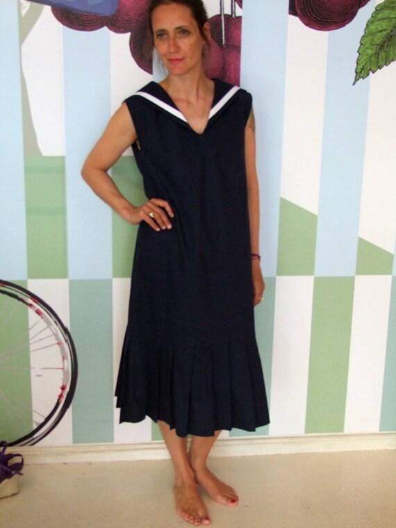 DRESS CENTRECOURT MAMAN,Navy Blue Women's Sailor Dress In Nineteen-Twenties Tennis Style,Sleeveless,Low Waist,Pleated Skirt, Sailor Collar