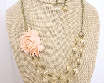 Set of 6 Bridesmaid Jewelry Sets Pink Wedding Jewelry Bridal Jewelry Flower Necklace Double Strand Necklace Bridesmaid Necklace