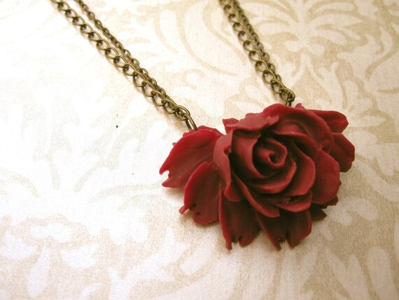 Flower Necklace Burgundy Necklace Red Necklace Oxblood Jewelry Rose Necklace Burgundy Jewelry