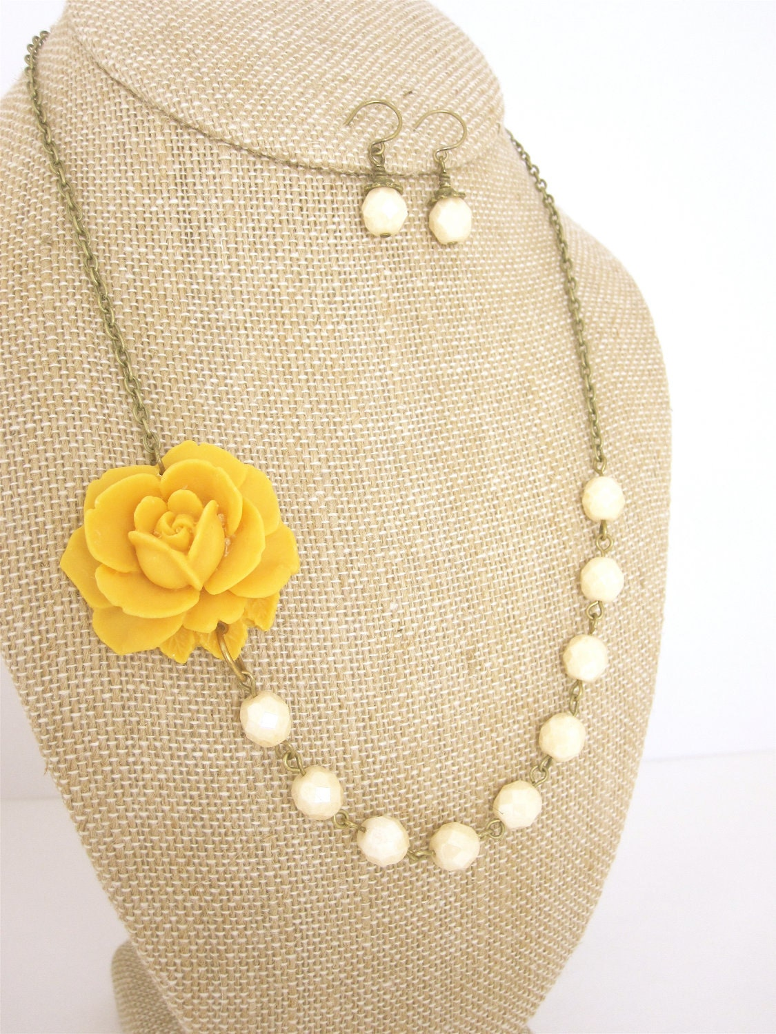 yellow statement necklace yellow jewelry flower necklace