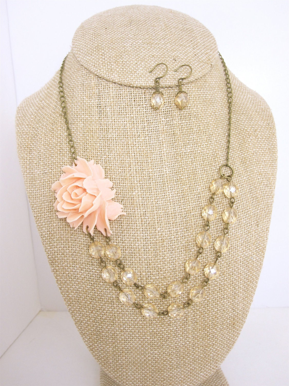 Set of 6 bridesmaid jewelry sets pink wedding jewelry bridal for Pink wedding jewelry sets