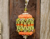 Wine Cork Pendant with Orange, Yellow, Lime Green Beadwork With Silver and Aged Copper Accents - Upcycled Wine Cork