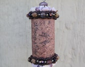 Wine Cork Pendant Capped with Upcycled Fabric and Accented with Semi-Precious stones and Pewter - Recycled Wine Cork