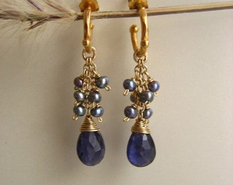Faceted iolite briolettes and blue freshwater pearl baby hoop earrings