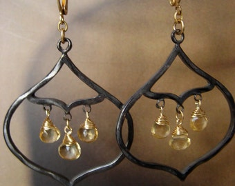 Faceted citrine and gunmetal chandelier earrings