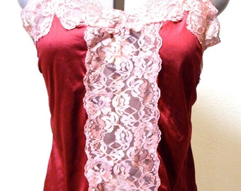 Camisole: SALE Vintage Custom Dyed Upcycled Red Lace OOAK Camisole