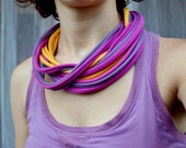 Textile jewelry - twisted fabric stripes necklace in pink, violet and yellow