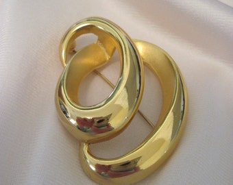 Brooch Gold Tone Contemporary Bold Circles Scarf Pin Lapel Pin Costume Jewelry