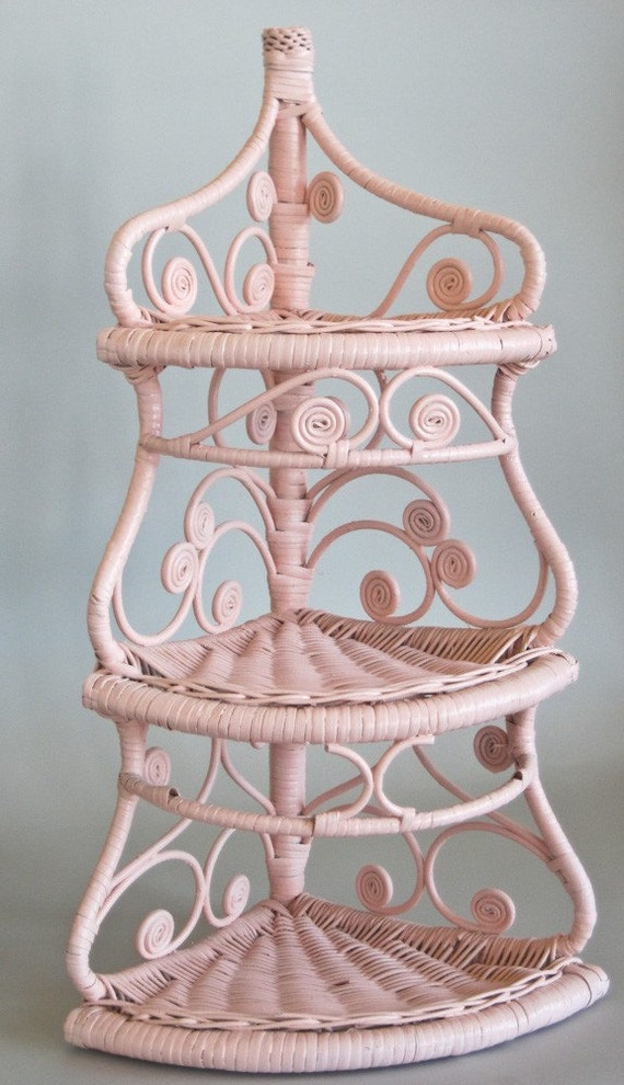Wicker Corner Shelf Pink And Shabby